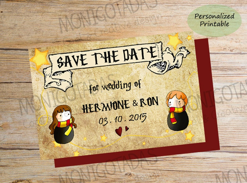 Save The Date Harry Potter Printable Shipping  3-5 business image 0