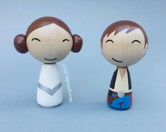 Star Wars Wedding cake topper / Han and Leia kokeshi doll - Size L