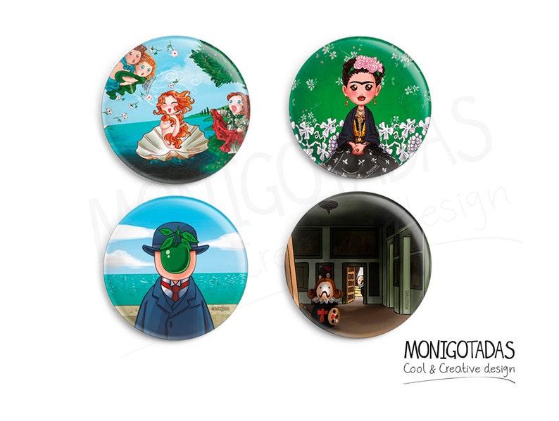 Set of 4 Art Pins /   Boticcelli / Frida Kahlo / Magritte / image 0