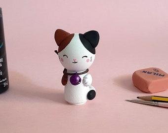 Cat kokeshi personalized  / cute cat wooden / Cat wooden doll custom