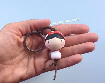 Mushroom girl or boy Kokeshi Keychain / 1,77  inches