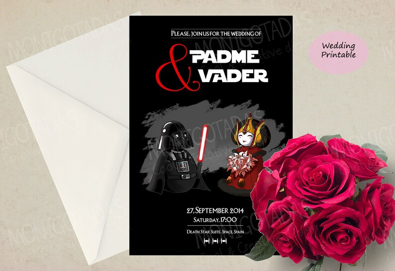 Star Wars printable Wedding /  Set invitations wedding / Card image 0