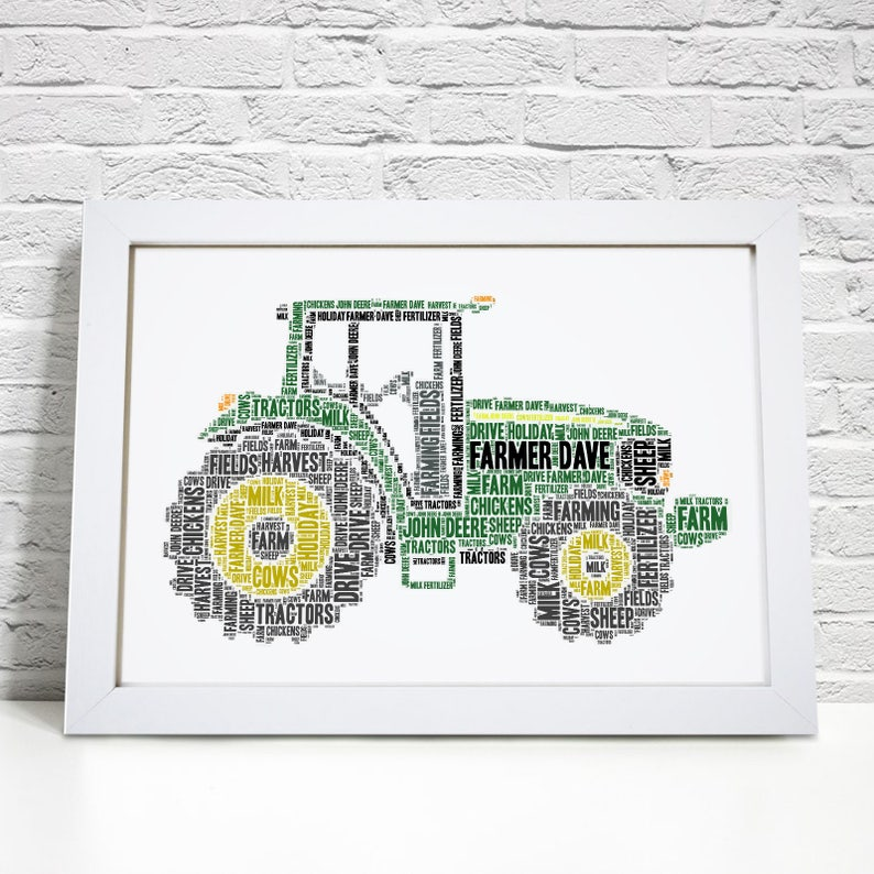 Personalised Tractor Print Farmer Word Art Picture Fathers