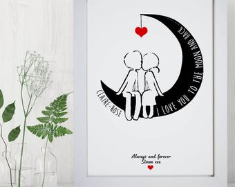 Personalised Typography I Love You To The Moon And Back Word Wall Art  Picture Print Wife
