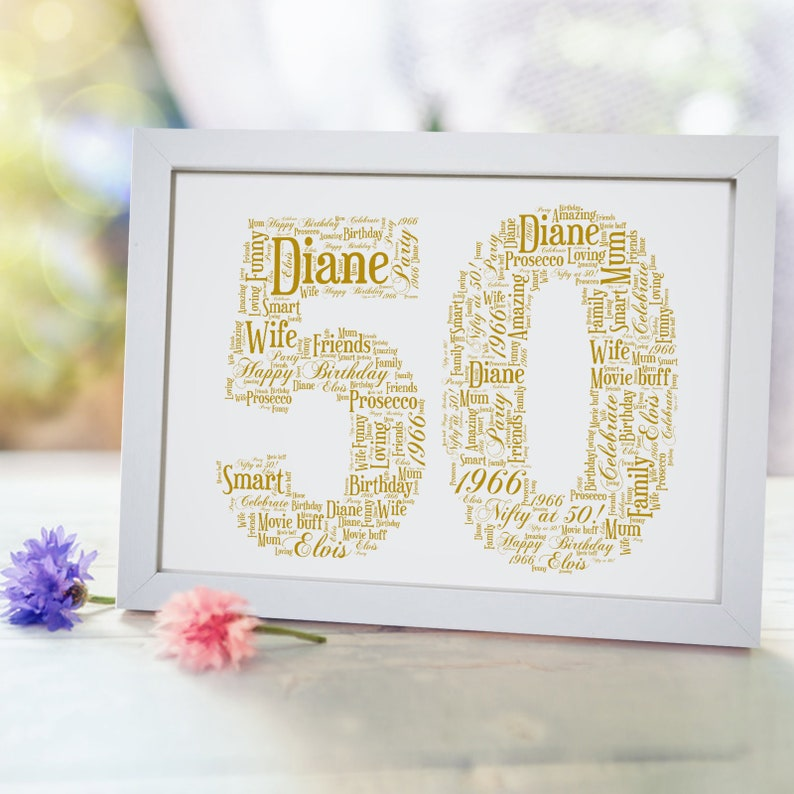 Personalised 50 Print 50th Birthday Card Gift For Men