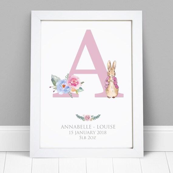 Personalised Word Name Art Print Peter Rabbit Baby Christening Birthday Nursery