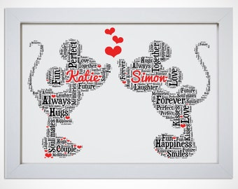 Personalised Mickey And Minnie Mouse In Love Word Art Picture Print Wall Art Wedding Gift