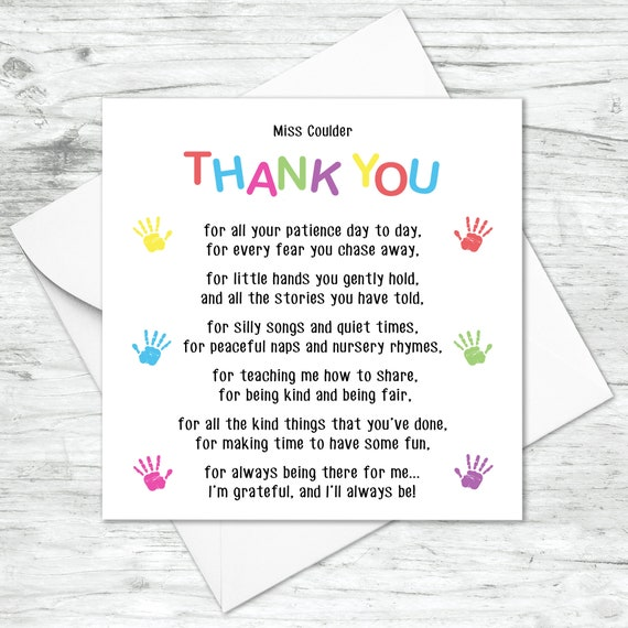 Thank You Handprint Poem Personalised Card Teacher Greeting Card Teaching Assistant Card Child Minder Card