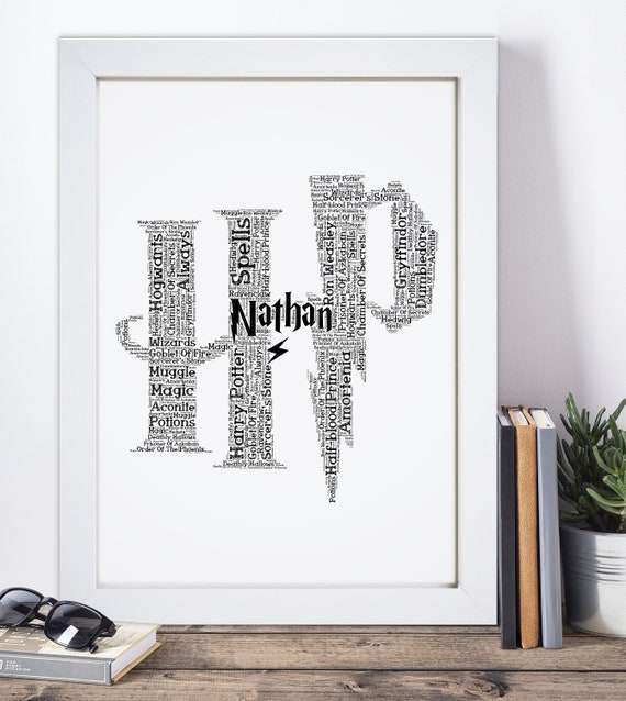 Harry Potter Personalised Present Print wordart greeting poster Birthday gift