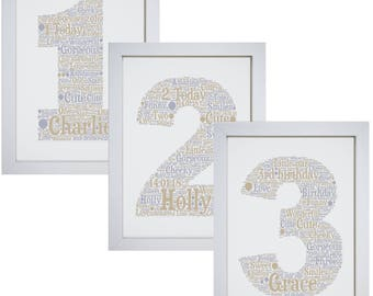 Personalised Childrens Any Age Number Birthday Framed Word Art Picture Print Gift 1st 2nd 3rd 4th 5th 6th 7th 8th 9th 10th 13th
