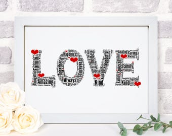 Awesome Personalised LOVE Hearts Word Wall Art Picture Print Wife Girlfriend  Valentines Anniversary Wedding Gift
