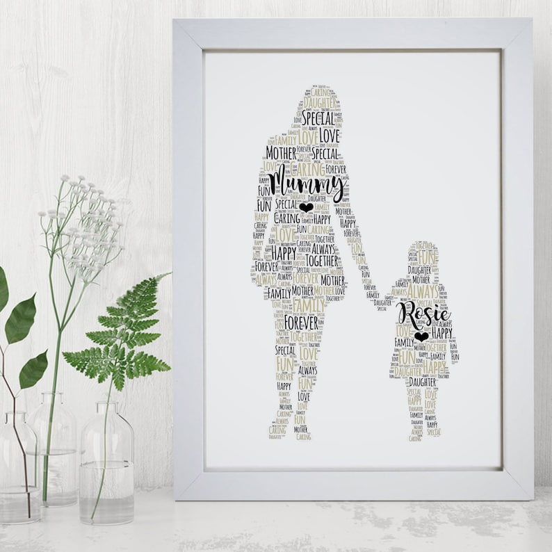 Personalised Mother Child Print  Custom Word Wall Art Frame  image 0