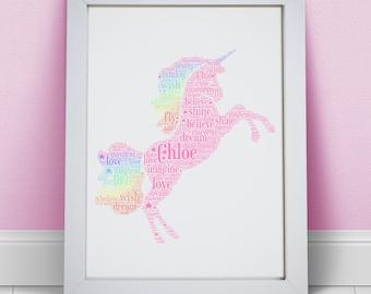 Personalised Rainbow Unicorn Print - Custom Name Word Wall Art Frame - Birthday Present Gift Ideas - For Girls, Kids, Teenagers