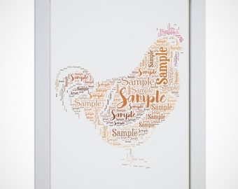 Personalised Chicken Framed Word Art Cloud Picture Hen Do Party Gift