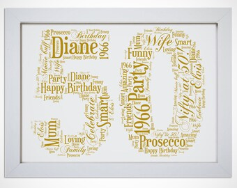 Personalised Name 50th Birthday Age Number Framed Word Art Picture Print Gift