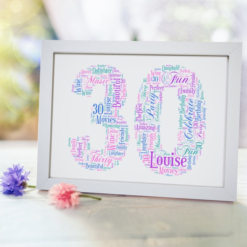 Personalised 30 Print 30th Birthday Card Gift For Him
