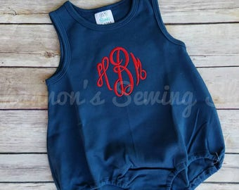 41a20a85dbdb Monogrammed Baby Bubble - Monogrammed Romper - Navy Blue 4th of July Bubble  - Baby Girl Outfit - Baby Boy Outfit