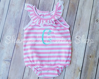 a24a3ab91db5 Monogrammed Baby Bubble - Girls Ruffle Bubble - Girls Summer Bubble - Baby  Girl Monogrammed Bubble - Monogrammed Bubble - Monogrammed Romper