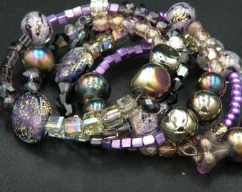 Memory Wire Bracelet w/Diachrom Beads, Swarovski Beads and Lampwork Beads