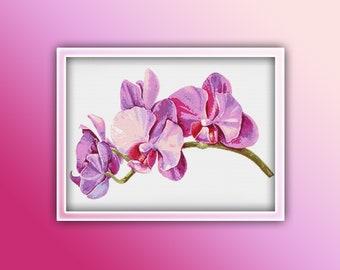 Lovely Orchids Cross Stitch Pattern  Modern Decor Violet Pink Flowers Floral Digital Pattern Bouquet Needlepoint chart PDF Instant download