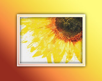 Sunflower Cross Stitch Pattern Close Up Instant PDF Download - Sunflower Watercolor Cross Stitch Pattern