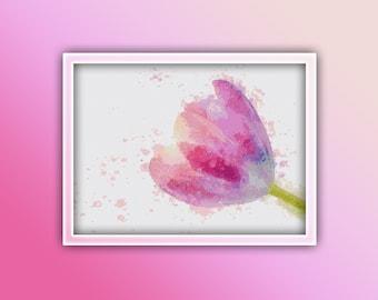 Single Pink Tulip Cross Stitch Pattern Instant PDF Download - Single Pink Tulip Watercolor Cross Stitch Pattern