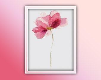 Flower Cross Stitch Pattern 5 Instant PDF Download - Pink Flower Watercolor Cross Stitch Pattern