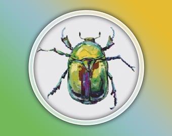 Beetle Cross Stitch Pattern 1 Instant PDF Download - Beetle Watercolor Cross Stitch Pattern - Animal Cross Stitch Pattern