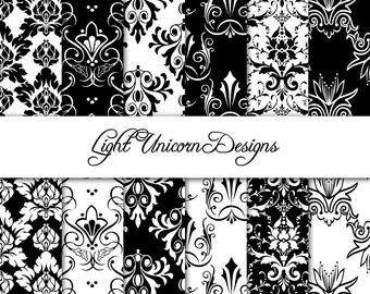Black and White Damask Digital Scrapbook Printable Paper