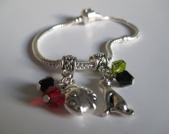 Ladybug and Chat Charm Bracelet