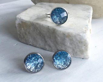 Sale, Sale Jewelry, Clearance, Closeout, Blue Glitter Earrings, Blue Glitter Ring, Blue Ombre Earrings, Ombre, Bridesmaid Earrings,