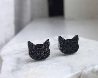 Halloween Earrings, Halloween Jewelry, Cat Earrings, Black Cat Earrings, Glitter Earrings, Black Earrings, Sensitive Ears, Stainless Steel,