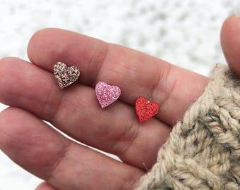 Heart Earrings, Red Heart Earrings, Pink Heart Earrings, Stainless Steel Earrings, Hypo Allergenic Earrings, Valentine's Earrings,