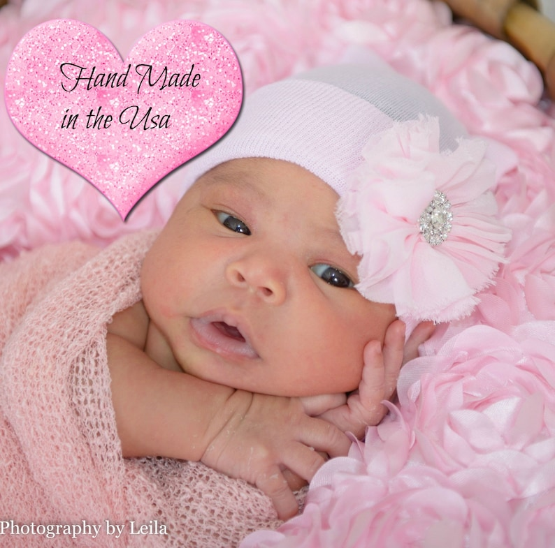 white pink Baby Beanie Baby shower gift Newborn Hospital Beanie Pink Baby Girl Hat .Newborn mittens Pink Bow knot Beanie
