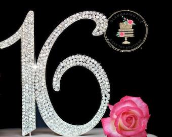 Custom Sweet Sixteen 16 Rhinestone cake topper decoration numbers cake topper Birthday cake topper bling