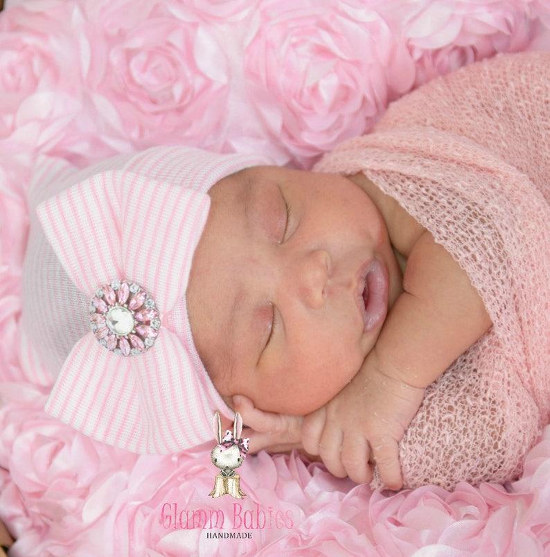 5d4325144 Newborn Hospital Beanie. Bling Baby Beanie . Pink Baby Girl   Etsy