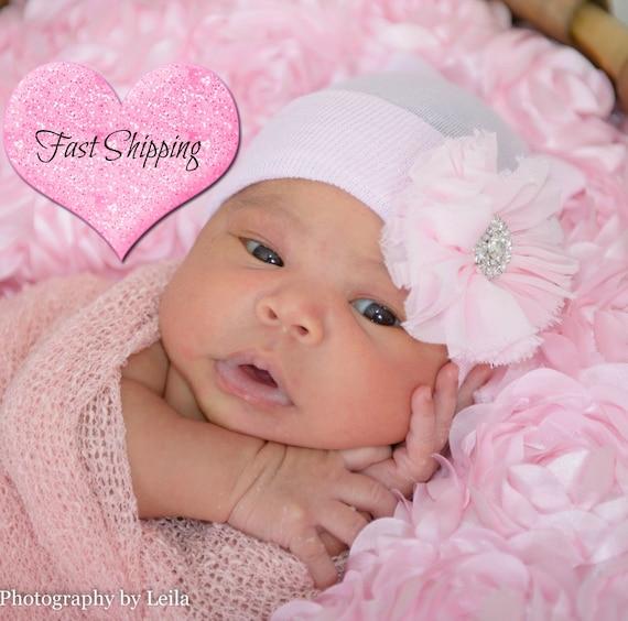 Personalised Baby Beanie Nouveau-né Chapeau idéal Baby Shower Rose//Bleu Bonnet