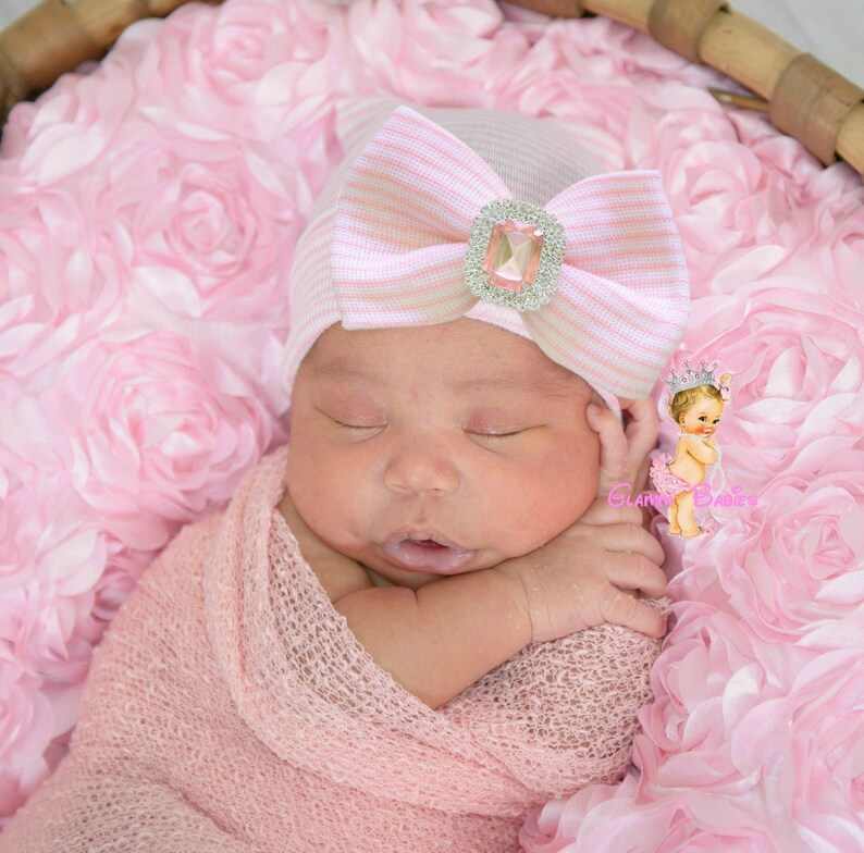 4563f5a494f Newborn Hospital Beanie. Bling Baby Beanie . Pink Baby Girl