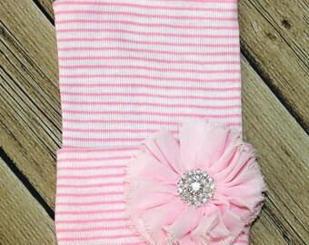 Newborn Pink stripe beanie.  infant girl fancy hat. Baby girl hat, newborn girl hat, newborn hospital hat.newborn beanie ballerina flower