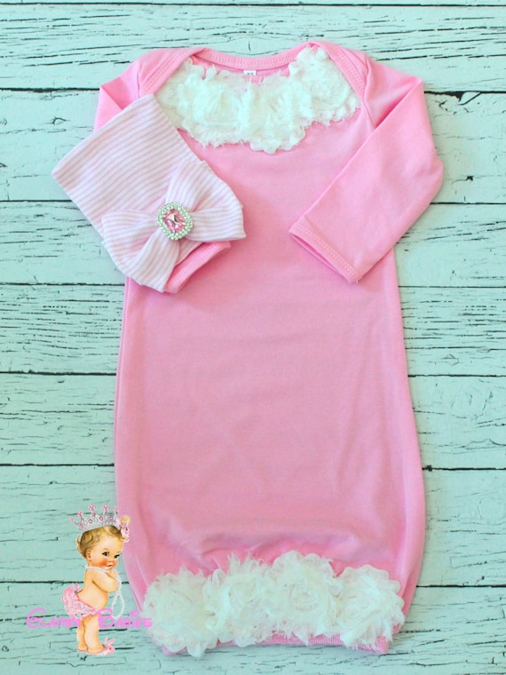 Pink New Baby Outfit. Newborn Hospital Gown. Bringing Home | Etsy
