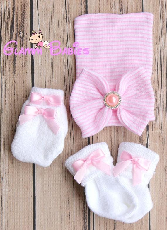 BABY GIRL PINK GLITTER BLING BLING MITTS  WHITE COTTON SCRATCH MITTENS NEWBORN
