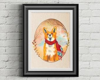 Cozy Fall Fox art print, fox wall art, fox lovers gift, woodland creatures, Fall is my Favorite season, fox portrait, kids room art