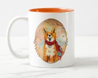 Fox Fall leaves mug, happy fox cup, Autumn mug, Fall leaves mug, perfect cozy mug for Autumn and Winter days!
