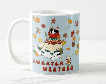 Sweater Weather cat mug, cute cat mug, cat lovers gift, Fall leaves mug, perfect cozy mug for Autumn and Winter days!