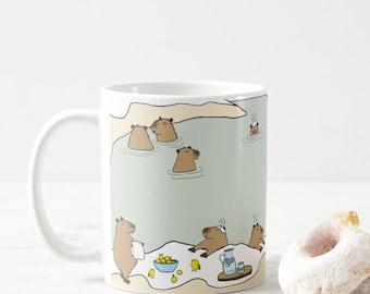 Cute capybara hot springs mug, Self Care Sunday capys, capybara Japanese onsen mug, baby capy mug, I love capybaras, capybara lover mug