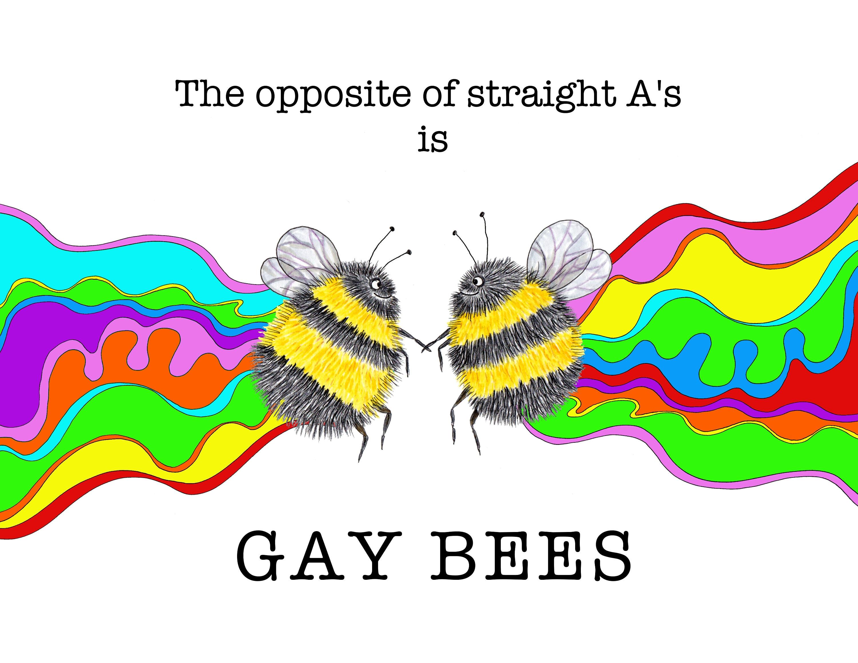 Gay Bees Rainbow Painting Lgbtq Art Cute Gay Pride Art Save Etsy