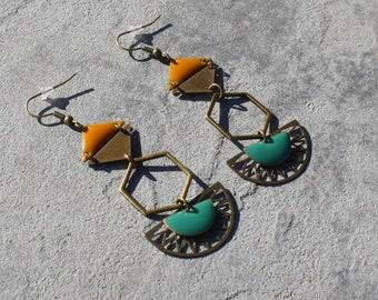 Earrings bronzes Antique green turquoise yellow half circle Moon charm ethnic sequins enamelled Hexagon triangle handmade jewelry
