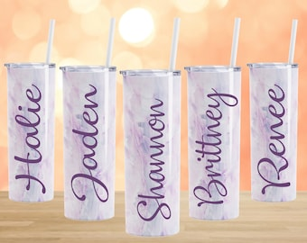 Personalized Bridesmaid tumbler custom cups with straws insulated marble geode rain wedding tumblers