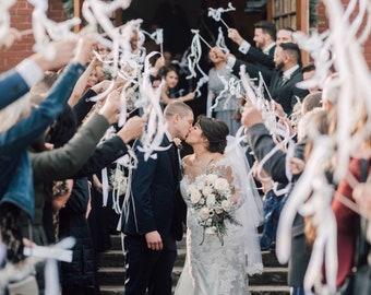 150 ribbon wedding wands send off idea ceremony exit ribbon wedding favor with or without bells