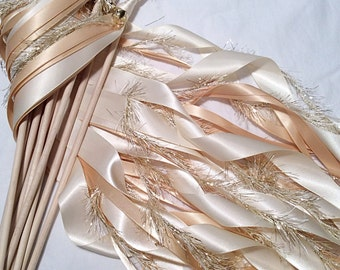 100 Wedding ribbon wands ivory and toffee with metallic gold frayed ribbon and bell send off ribbon